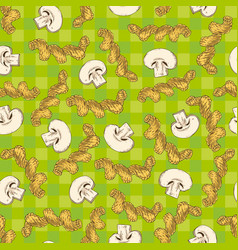 mushroom slices and pasta seamless pattern vector image vector image