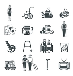 Pensioners life black white icons set vector