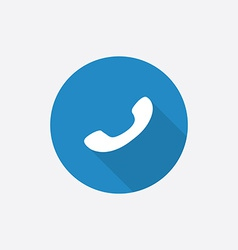 Phone Flat Blue Simple Icon with long shadow vector image vector image