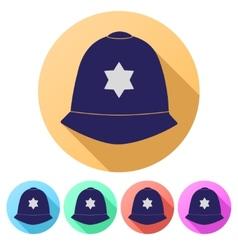 Set flat icons of helmet metropolitan british vector