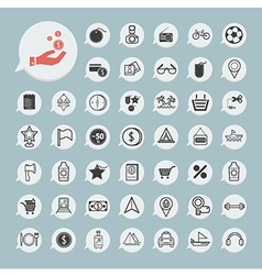 shopping and Tourism Icon set on blue paper vector image vector image