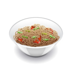 Soba noodles isolated on white vector image