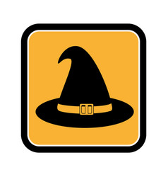 Square frame of halloween with witch hat vector