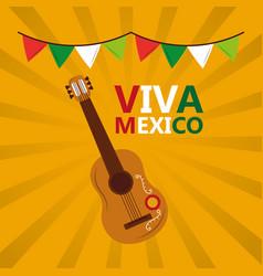 Viva mexico guitar garland colors yellow vector