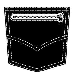 Zipper jeans pocket black symbol vector