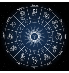 Zodiac circle with horoscope signs vector