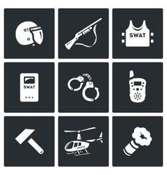 Set of swat police icons rapid response vector