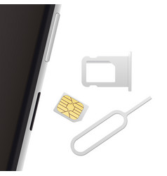 Smartphone small nano sim card sim card tray and vector