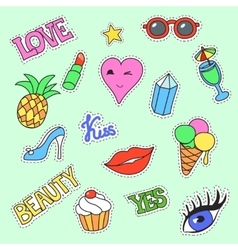 Fashion patch badges cartoon collection stickers vector
