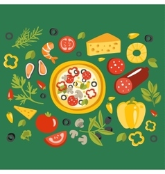 Pizza surrounded with different ingredients for it vector