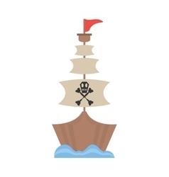 pirate boat sail flag bone and skull sea vector image