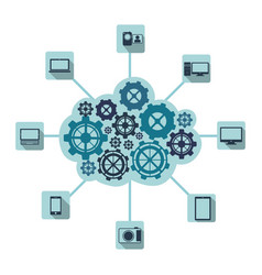 blue gears technological communications icon vector image