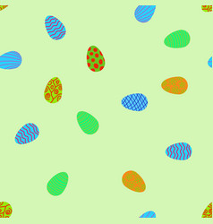 doodle easter eggs chaotic seamless pattern vector image