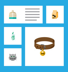 Flat icon pets set of bird prison kitty vector