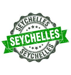 Seychelles round ribbon seal vector