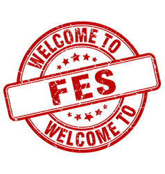 Welcome to fes red round vintage stamp vector