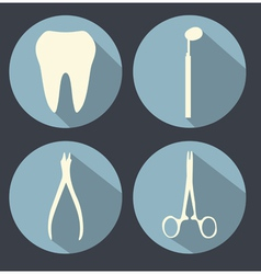 Dental theme flat icons vector