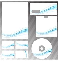 Blue swoosh concept stationery set vector