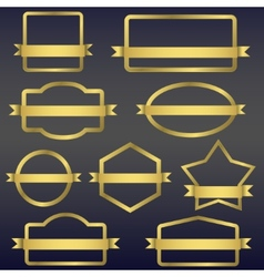 Golden frames with ribbons vector