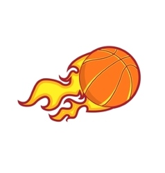 Retro color flying fire basketball badge vector
