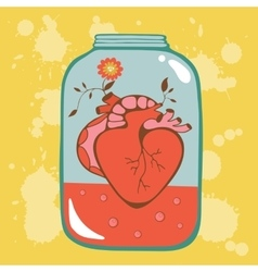 Concept love card with heart in jar vector
