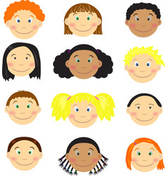 Different kids faces vector image