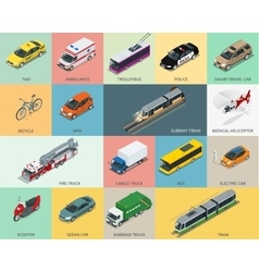 Flat 3d isometric city transport icon set taxi vector