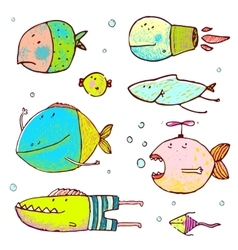 Cartoon cute fish drawing collection vector