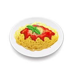 Spaghetti bolognese isolated on white vector