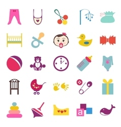 Set of colorful baby item icons vector