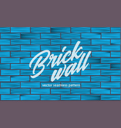 blue brick wall texture seamless pattern vector image
