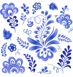 Blue floral elements in Russian gzhel style vector image