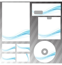 Blue swoosh concept stationery set vector