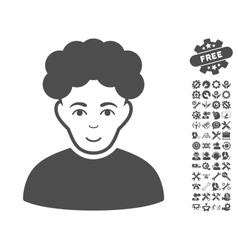 Brunet Man Icon With Tools Bonus vector image vector image