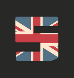 Capital number five with uk flag texture isolated vector