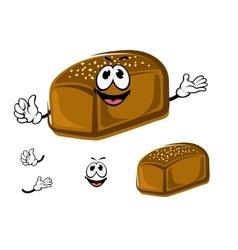 Cartoon healthy dark rye bread character vector