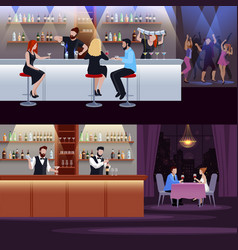 cocktail people composition set vector image vector image