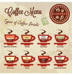 coffee menu set vector image vector image