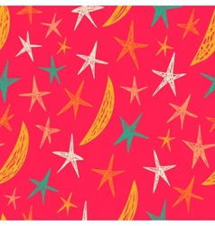Colored pattern with stars and moons Endless vector image vector image