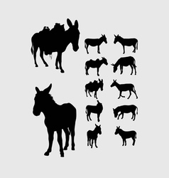 Donkey silhouettes vector