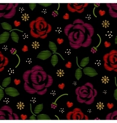 Embroidery pattern with roses flowers vector