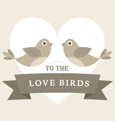 Flying love birds wedding card vector