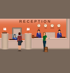 Hotel reception interior with employee and guests vector