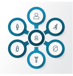 human outline icons set collection of business vector image