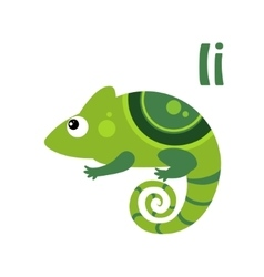 Iguana funny alphabet animal vector