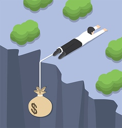 Isometric businessman holding on the cliff edge vector image vector image