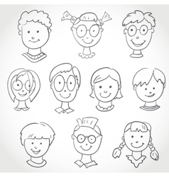 Kids face set sketch vector