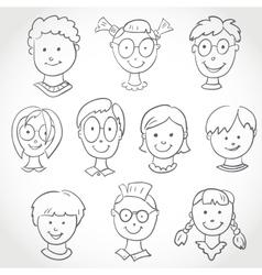 Kids Face Set Sketch vector image vector image