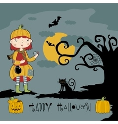Little girl in witch costume on three pumpkins vector
