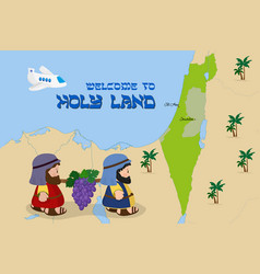 Map of israel with two spies welcome to holy land vector